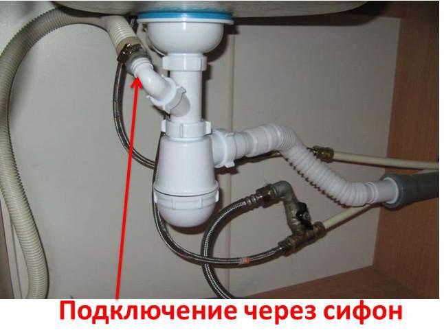 свързване на машината към канализацията чрез сифон