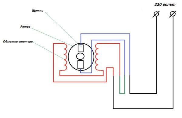 схема на окабеляване на двигателя