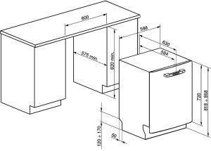 размери на вградените съдомиялни машини