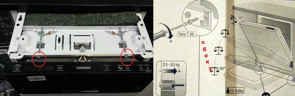 регулиране на вратата на съдомиялна машина