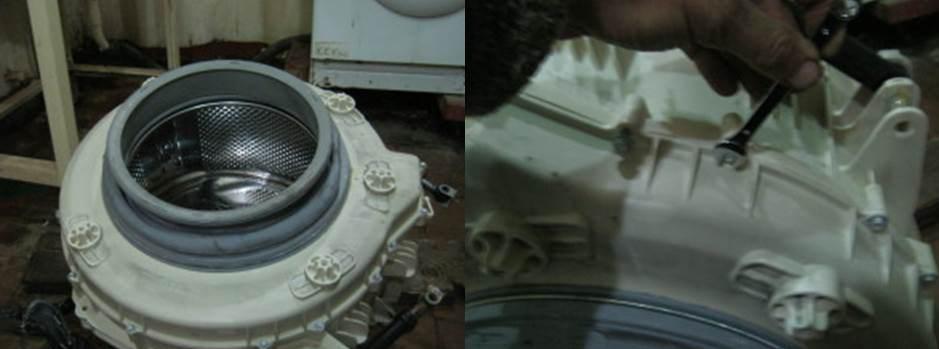 разглобете резервоара на пералнята