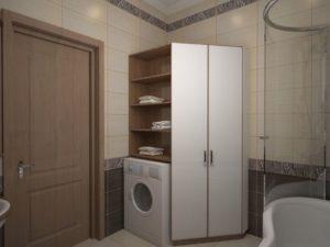 מדפים בחדר האמבטיה מעל מכונת הכביסה