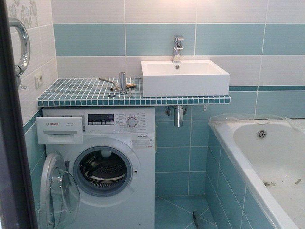 Picture of: Vaskemaskine Under Bordpladen I Badevaerelset