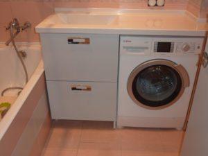 Benkeplate til badet under vaskemaskin og vask