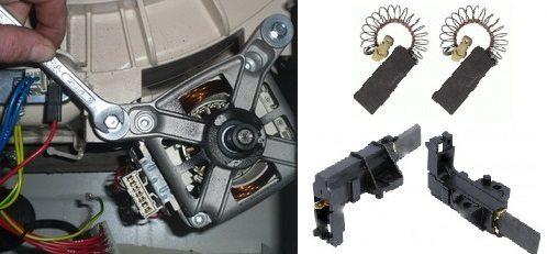 подмяна на четките на колекторния двигател на пералната машина