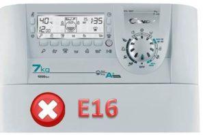 Ralat E16 dalam mesin basuh Candy