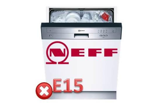 Ralat E15 di mesin pencuci pinggan Neff