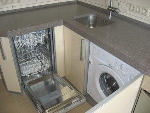 Къде трябва да бъде съдомиялната машина в ъгловата кухня