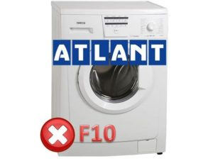 Ralat F10 di mesin basuh Atlant