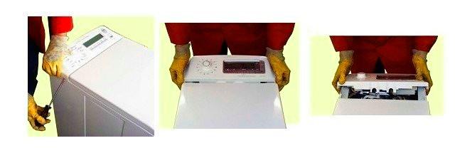 הסר את לוח הבקרה במכונת כתיבה עם טעינה אנכית