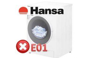 Pogreška E01 u perilici rublja Hansa