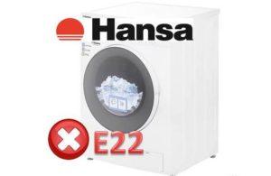 Ralat E22 di mesin basuh Hansa