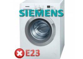 Грешка E23 в пералнята на Siemens