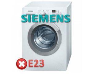 Ralat E23 di mesin basuh Siemens