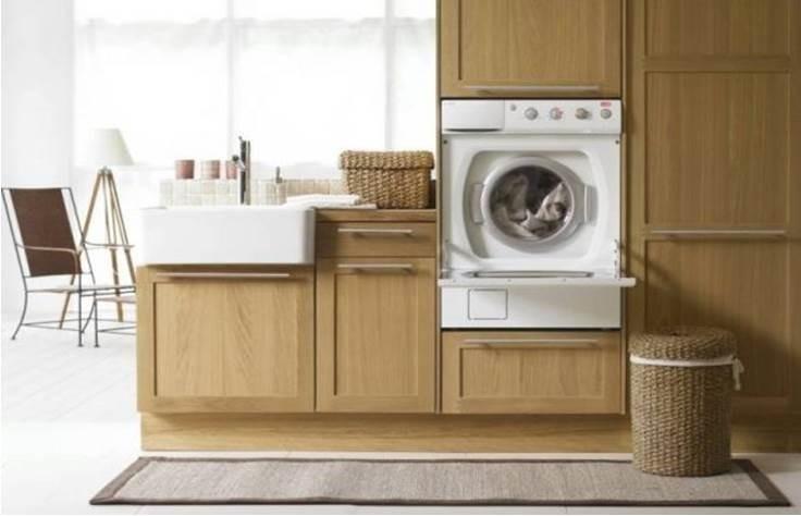 необичайно вграждане на пералня в кухнята