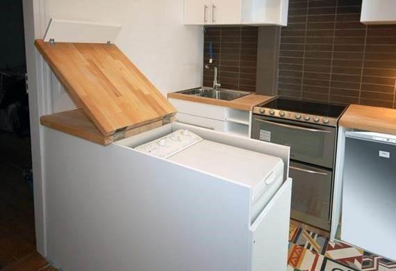 Hogyan telepítsünk egy feltöltődő mosógépet a konyhába