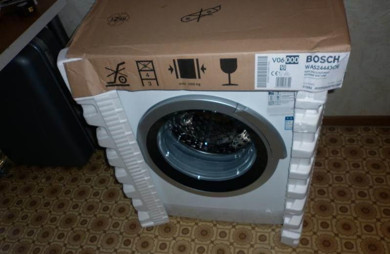 дори пералнята от опаковката вътре може да е с вода
