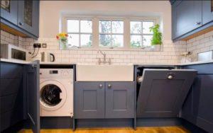 Bagaimana untuk menyembunyikan mesin basuh di dapur?