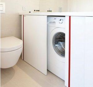 Bagaimana hendak menyembunyikan mesin basuh di bilik mandi?
