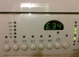 Pogreška E34 u perilici rublja Electrolux
