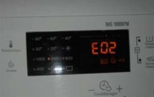 Error E02 in the Electrolux washing machine