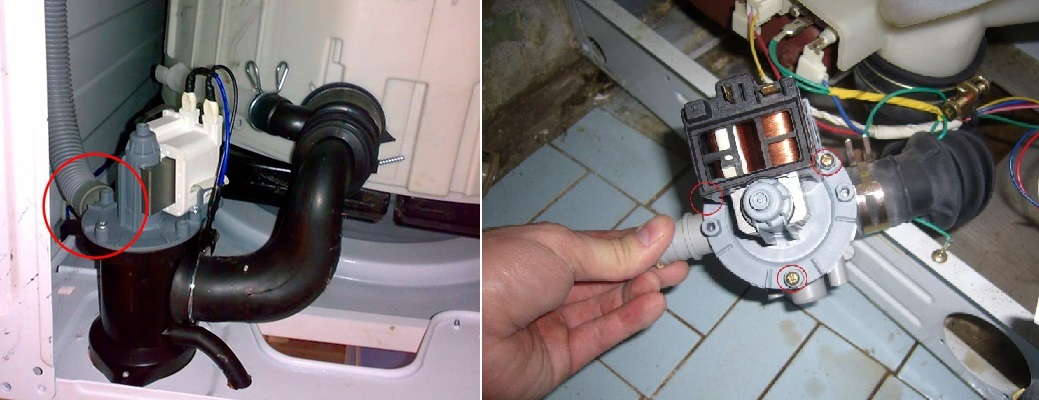 разглобяване на помпата на пералнята на LG
