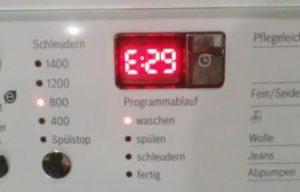 Ralat E29 di mesin basuh Bosch
